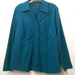 Contempo Green Button Up Womens Size 16